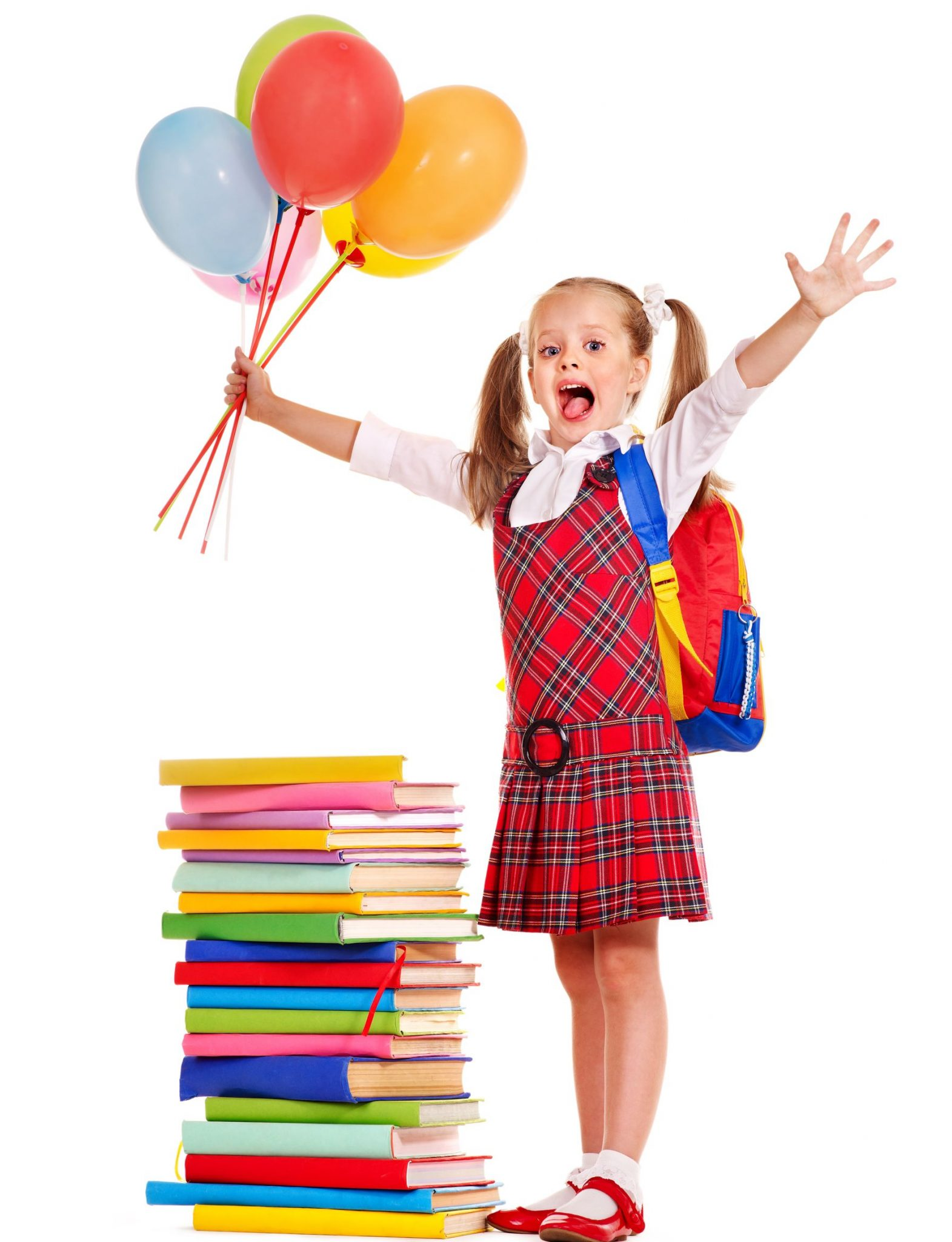19556945 - child with book holding balloon. isolated on white.