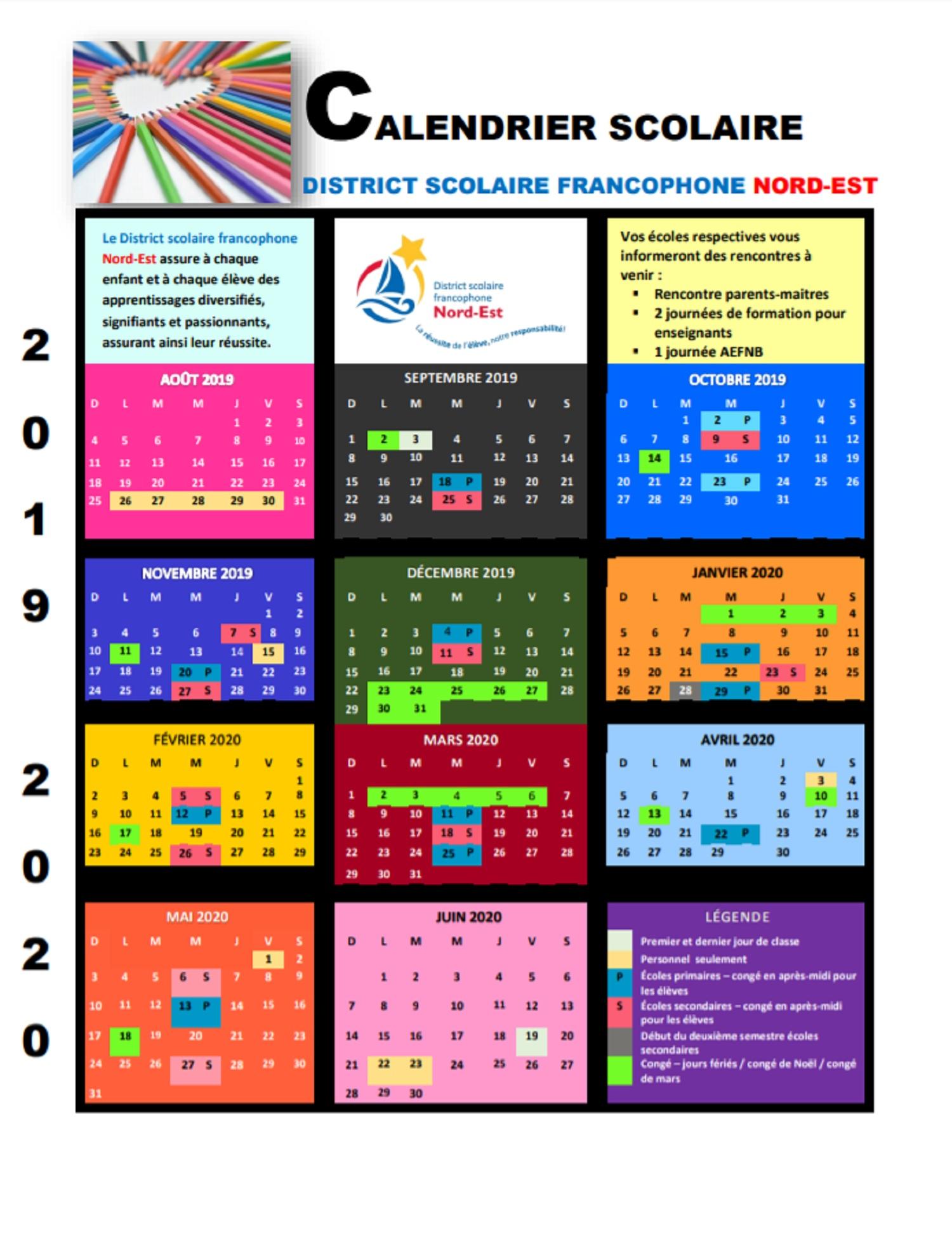 Calendrier Scolaire 20202019 A Imprimer.Calendrier Scolaire Dsfne